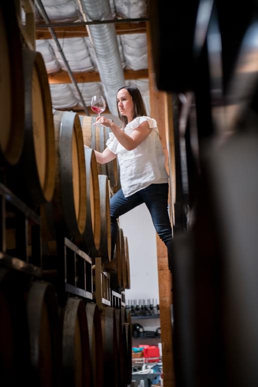 J. Brix winemaker Emily in barrel room