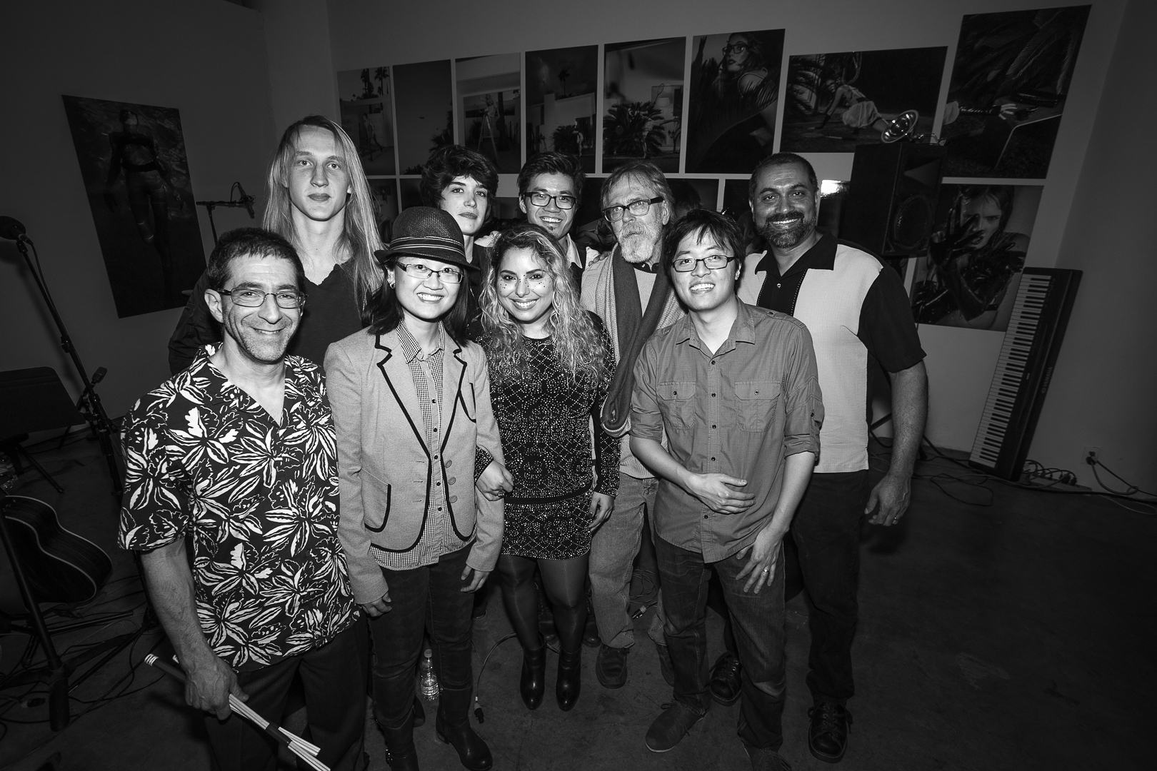 The Proven Guilty [Front: Paul Berolzheimer (drums), DJ DiipSilence, Emily Daccarett (vocals, lyricist), Ian Chen (violin, keys), Back: Adam Skeppar (guitar), Marie Weill (guitar, vocals), Myself (keys, composer), Ken Goerres (sound engineer) and Sumit Das (bass).
