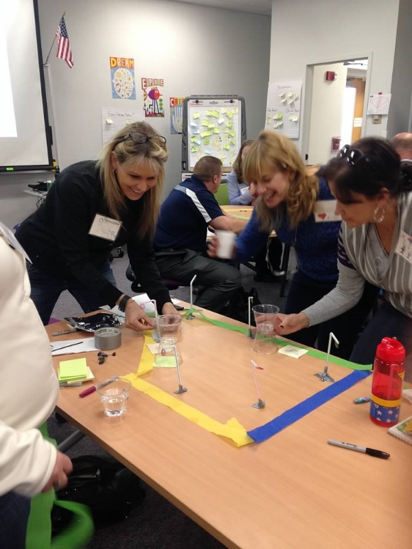 D11 educators put finishing touches on their prototype to improve the pedesterian experience in Colorado Springs.