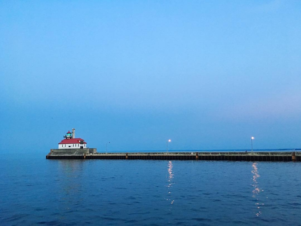 Dusk on Lake Superior in Duluth, MN.