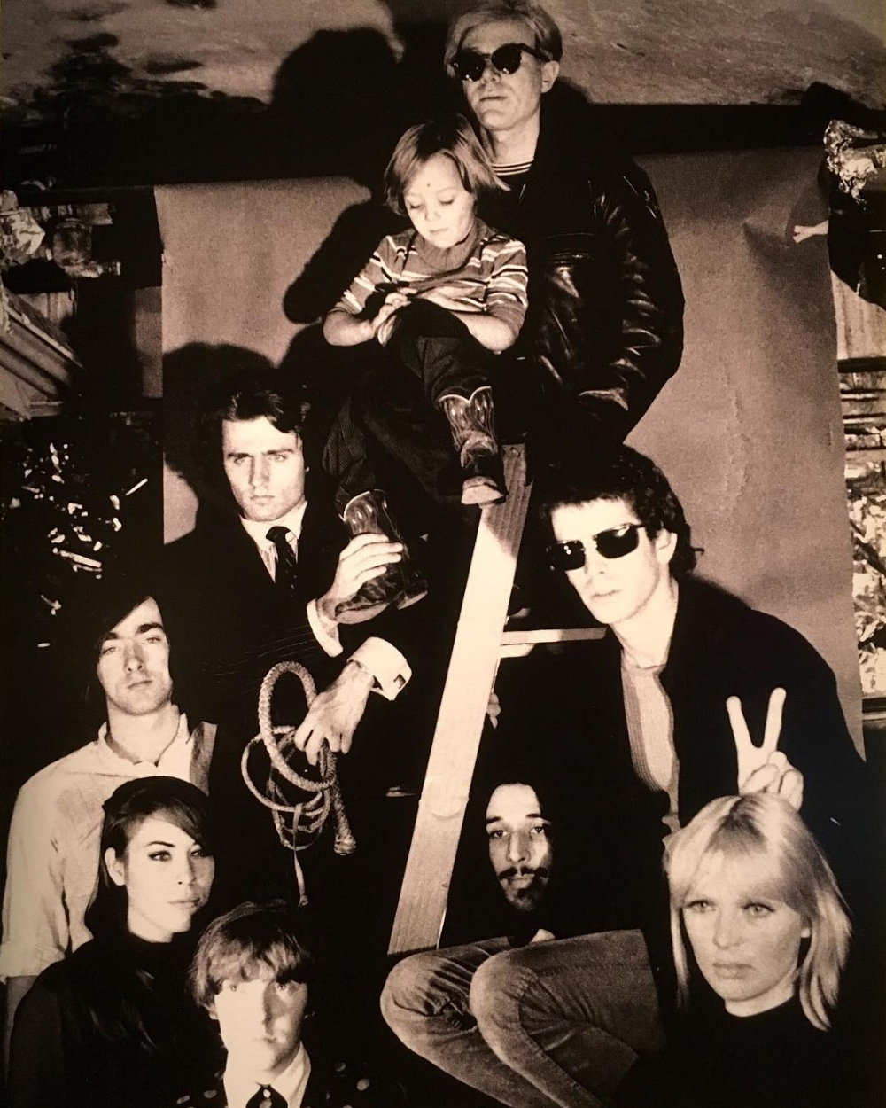 Velvet Underground, Andy Warhol, and members of the Factory family.