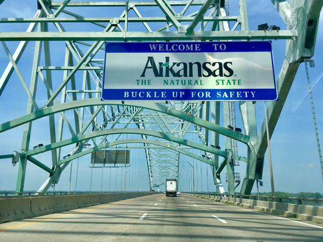 Border crossing from TN to AR.