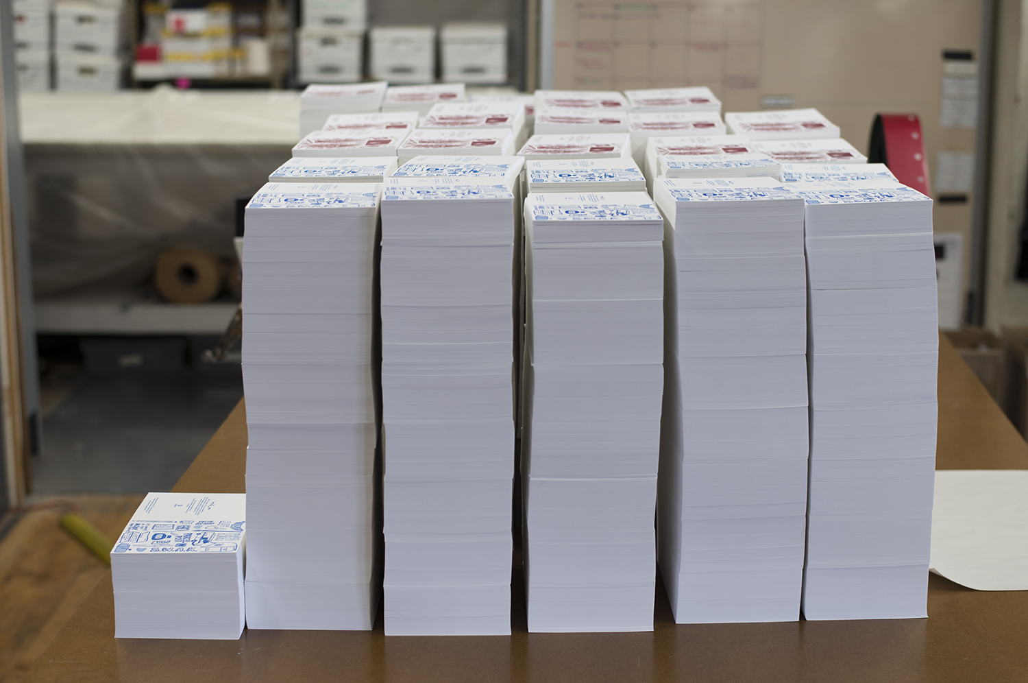 Stacks and stacks of Write_On cards! All of our cards are printed on Mohawk Via Vellum Bright White paper.