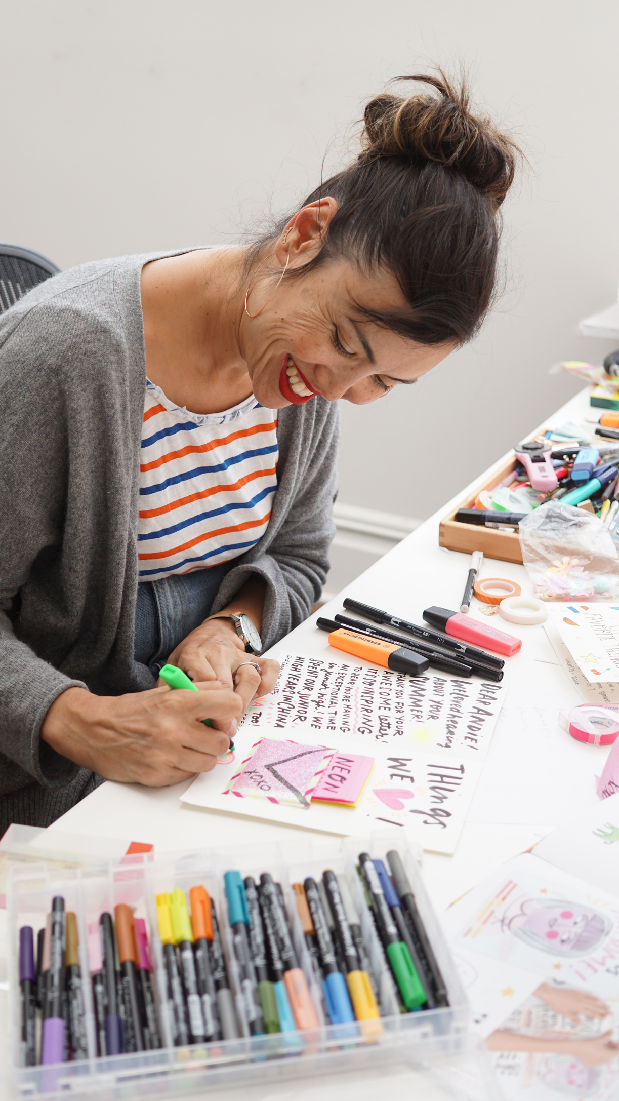 Eunice Moyle of Hello!Lucky constructing a card inspired by the Happy Mail book