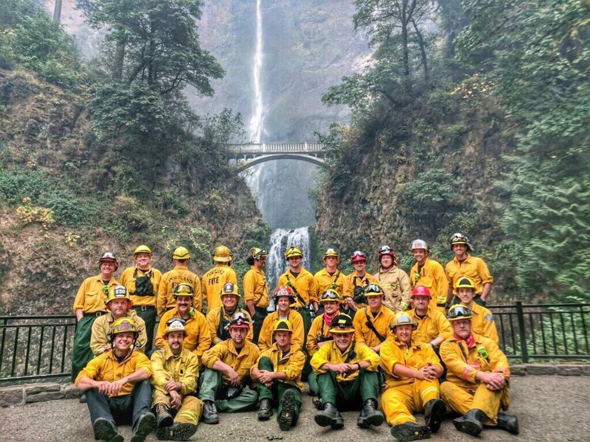 Portland firefighters at Multnomah Falls via  Willamette Week