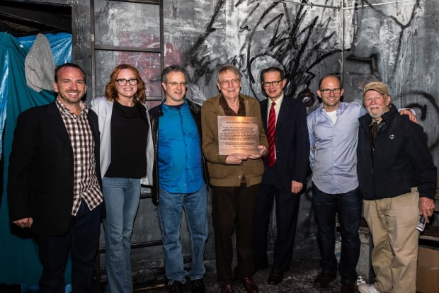 John Cullum with Michael Rego, Jennifer Laura Thompson (original Hope), Greg Kotis & Mark Hollmann (Urinetown authors), Matthew Rego, and James Jennings