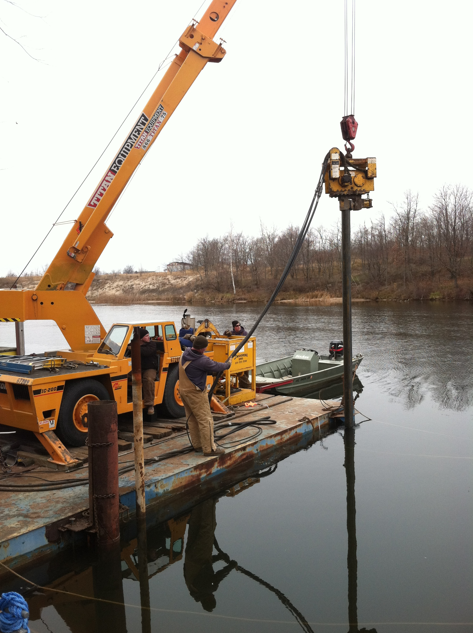 Driving Pile in Manistee River Channel