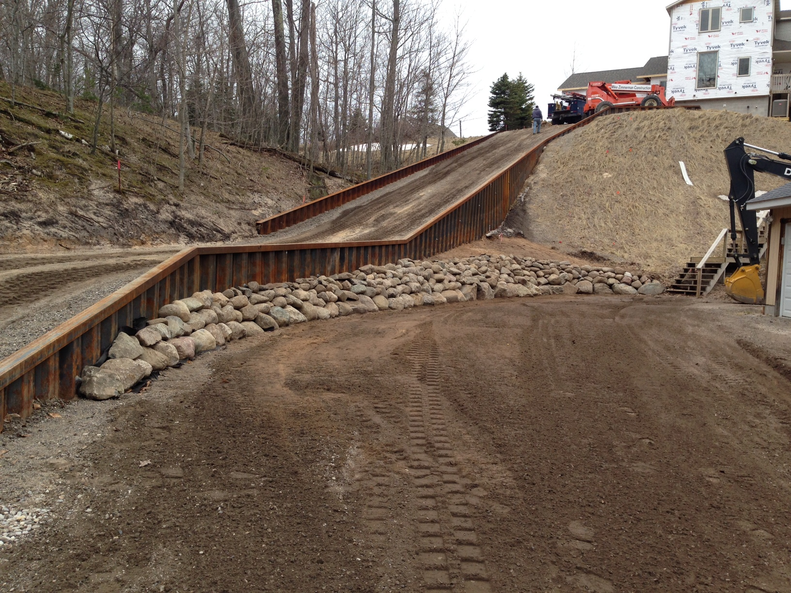 Steel Retaining Wall/New Driveway/Bank Stabilization/Rock Placement, photo 1
