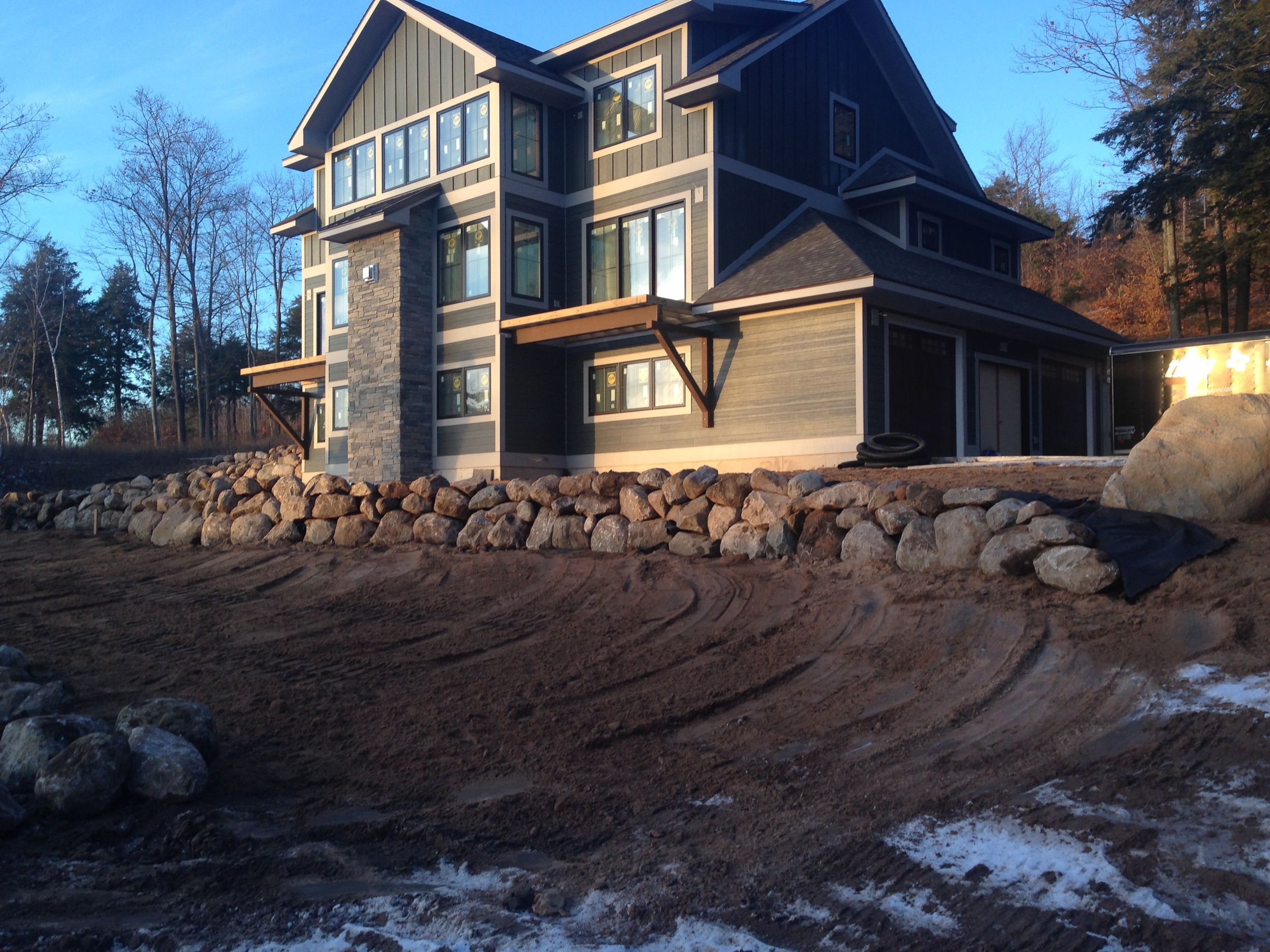 New Home Sitework/Rock Walls