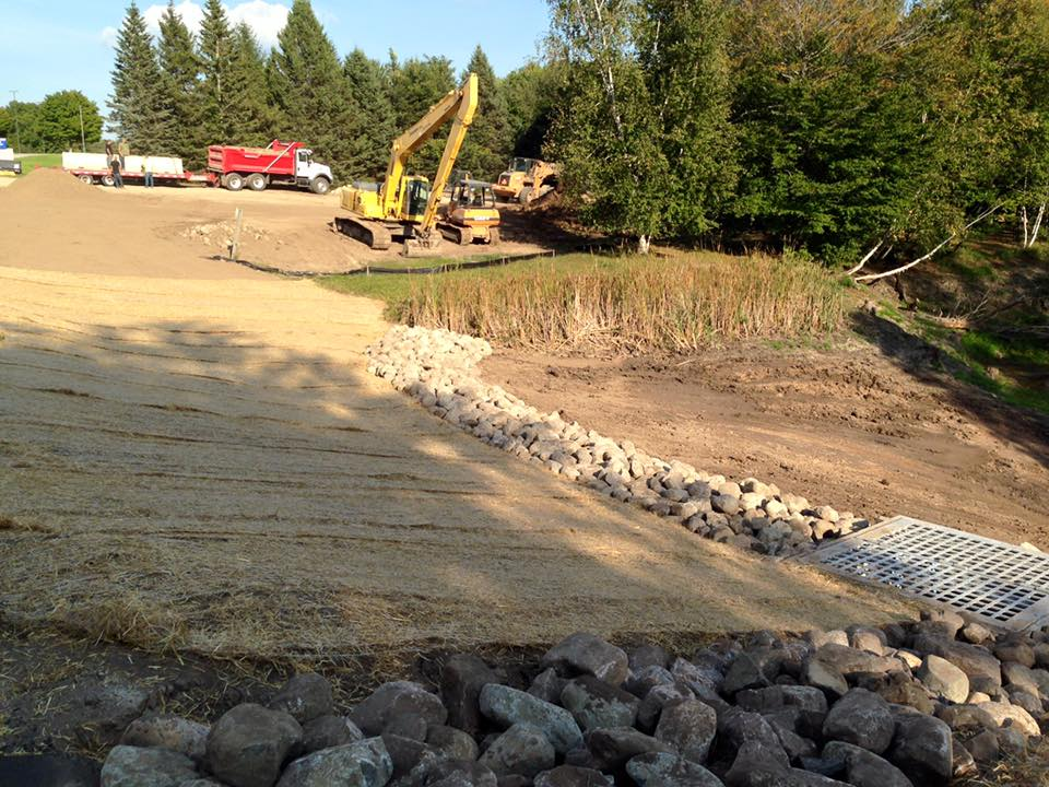 WSCC Dam Repair Project: erosion control blanket & natural rock