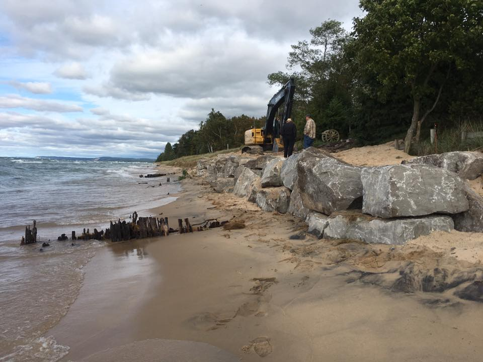 Lake Michigan limestone boulder shoreline protection