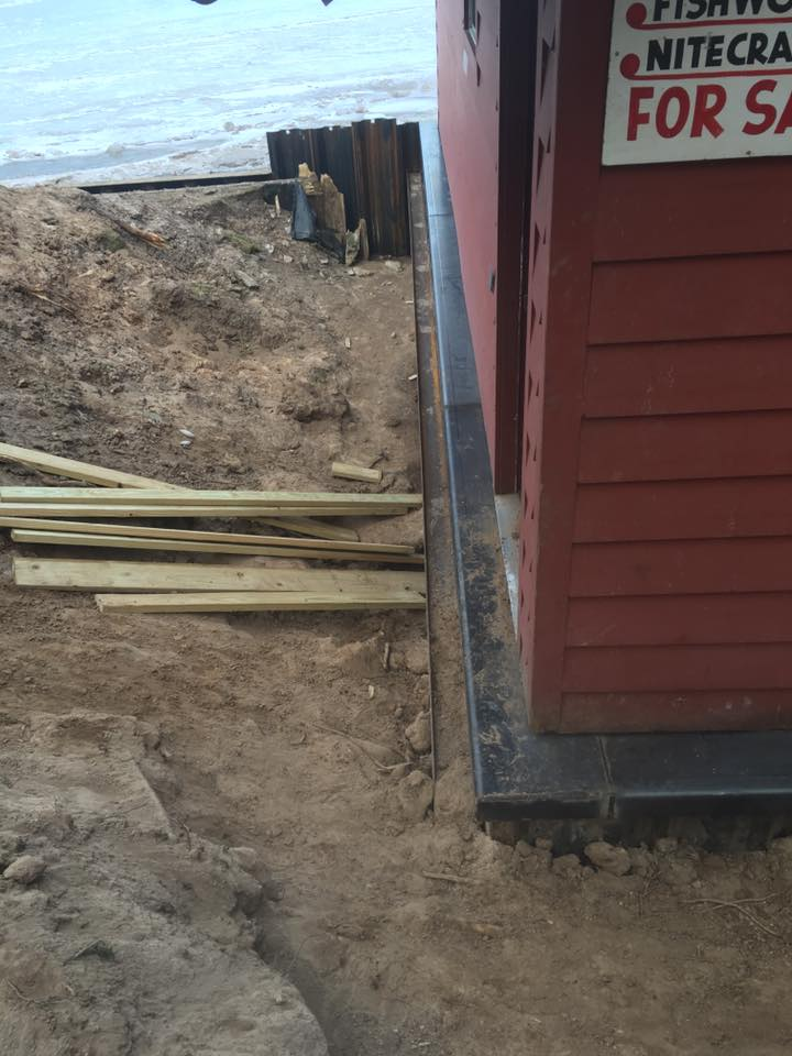 New foundation under existing boathouse on Hamlin Lake