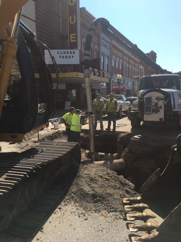 Sewer line repair work on River Street, Manistee