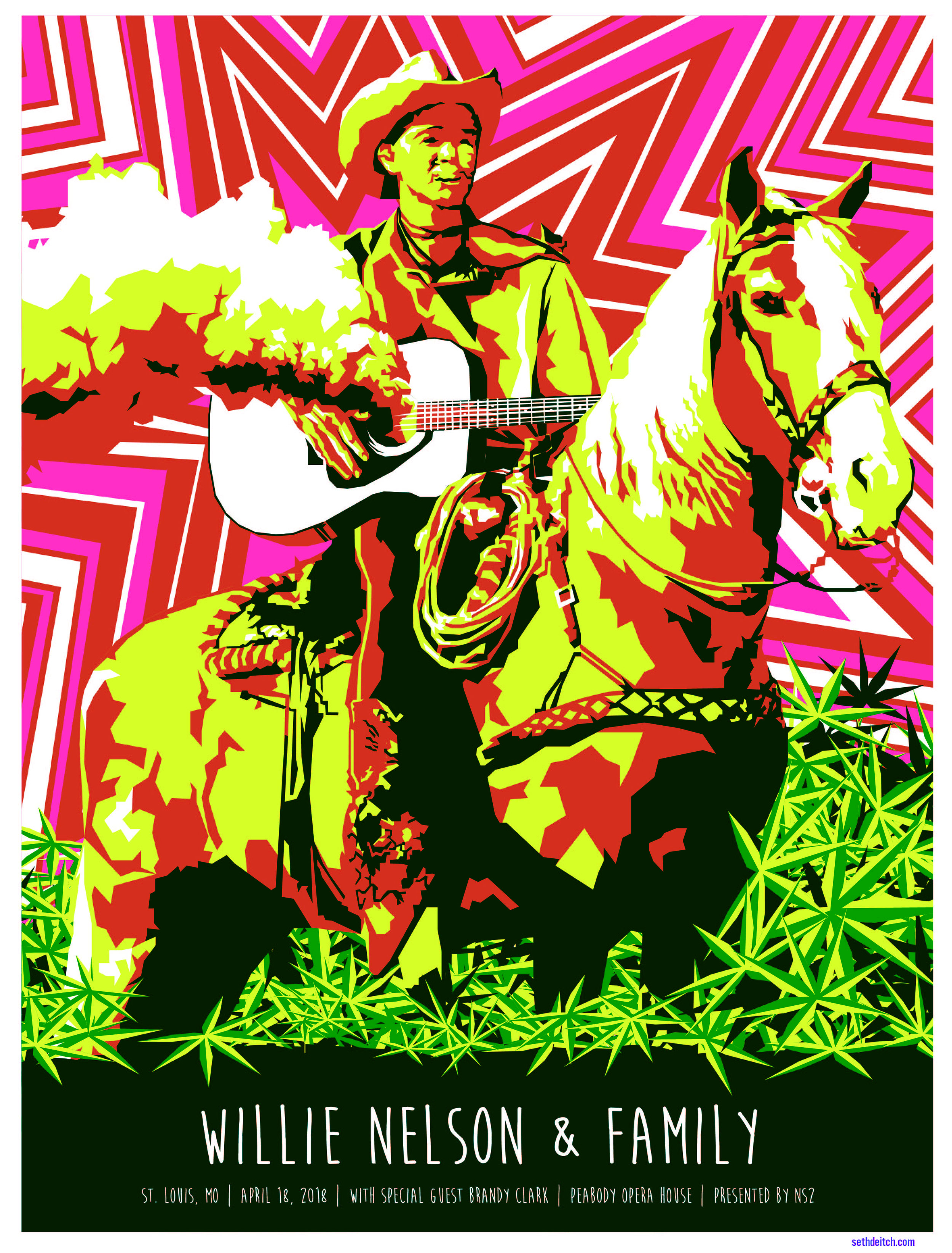 Willie Nelson - 3 Color Screen Print - Edition of 65