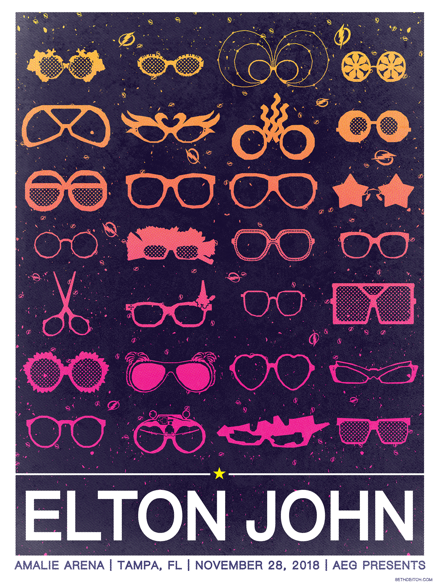 Elton John -- 3 Color Screen Print
