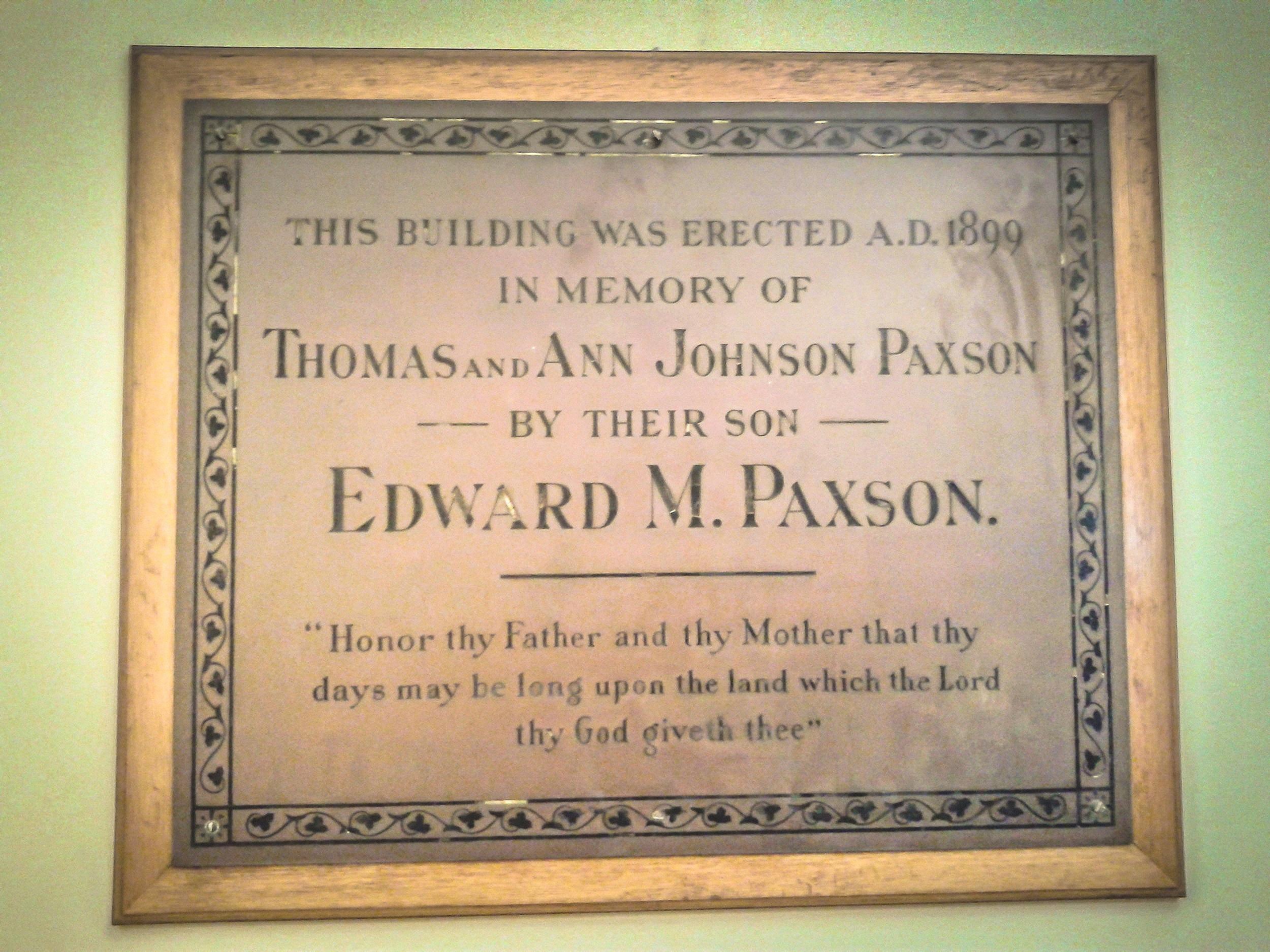 bronze dedication plaque in fhv's paxson hall