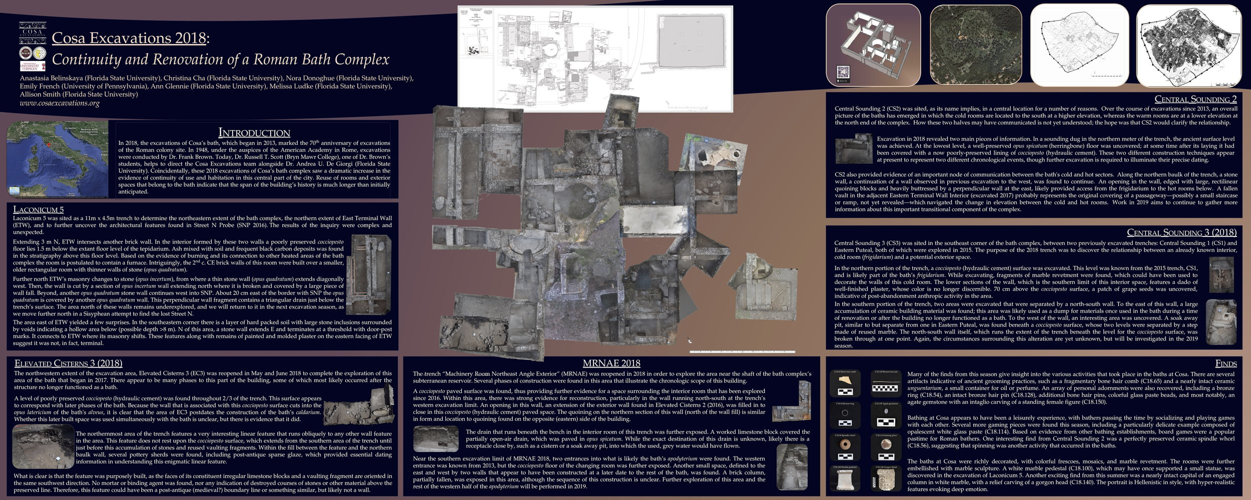 """Poster presented at the 2019 AIA and SCS Joint Annual Meeting - """"Cosa Excavations 2018: Continuity and Renovation of a Roman Bath Complex."""""""