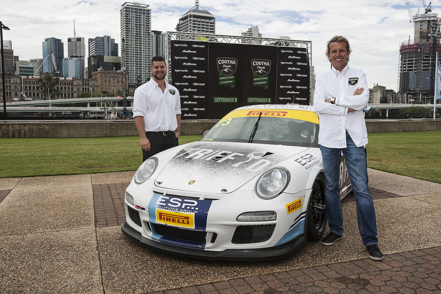 Cootha Classic event director James Payne with V8 supercar driver and event ambassador Warren Luff at the Cootha Classic launch. March 18, 2015. (Photo: Scott Nelson, TPR Media).
