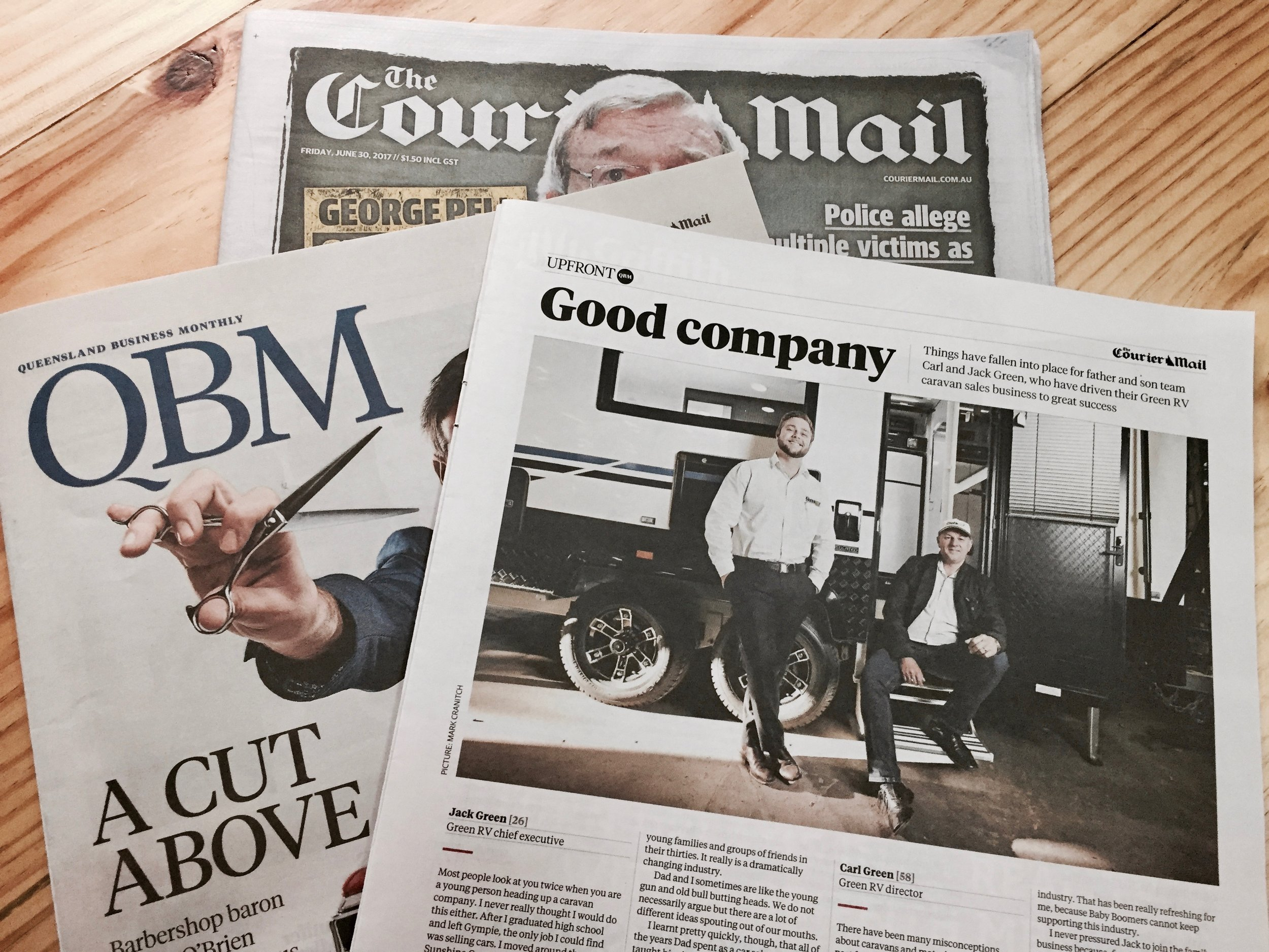 The enterprising father-son duo Jack and Carl Green of  Green RV  adorn the page-three 'Good Company' feature in the  Courier Mail 's monthly QBM magazine.