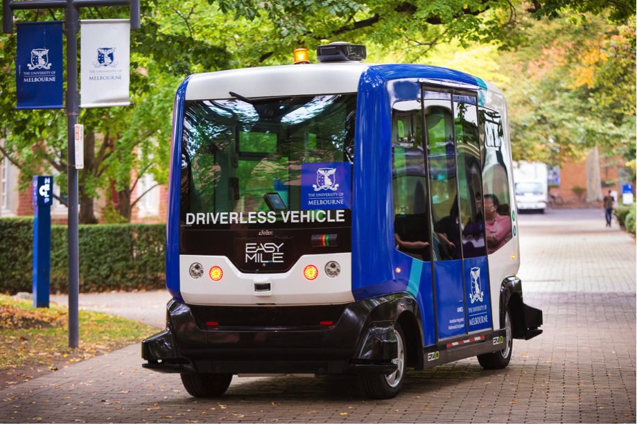 The EZ10 driverless vehicle carries up to 15 people and can operate on existing roadway and public infrastructure.
