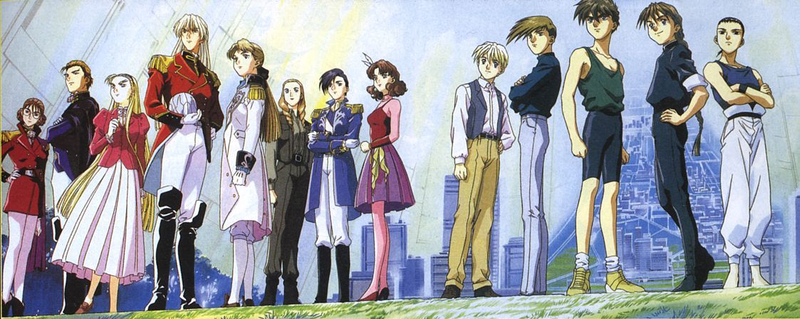 The cast of  Gundam Wing .  Credit to Sunrise.