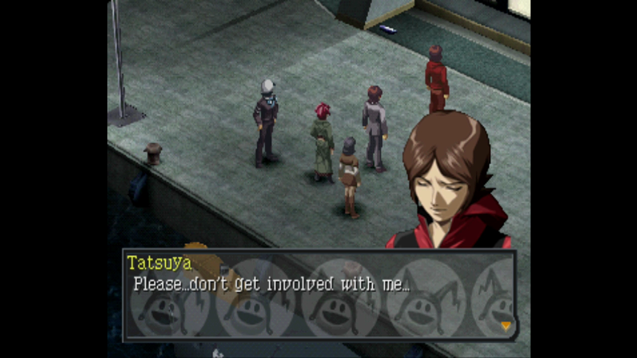 Tatsuya is sad for a lot of the game.
