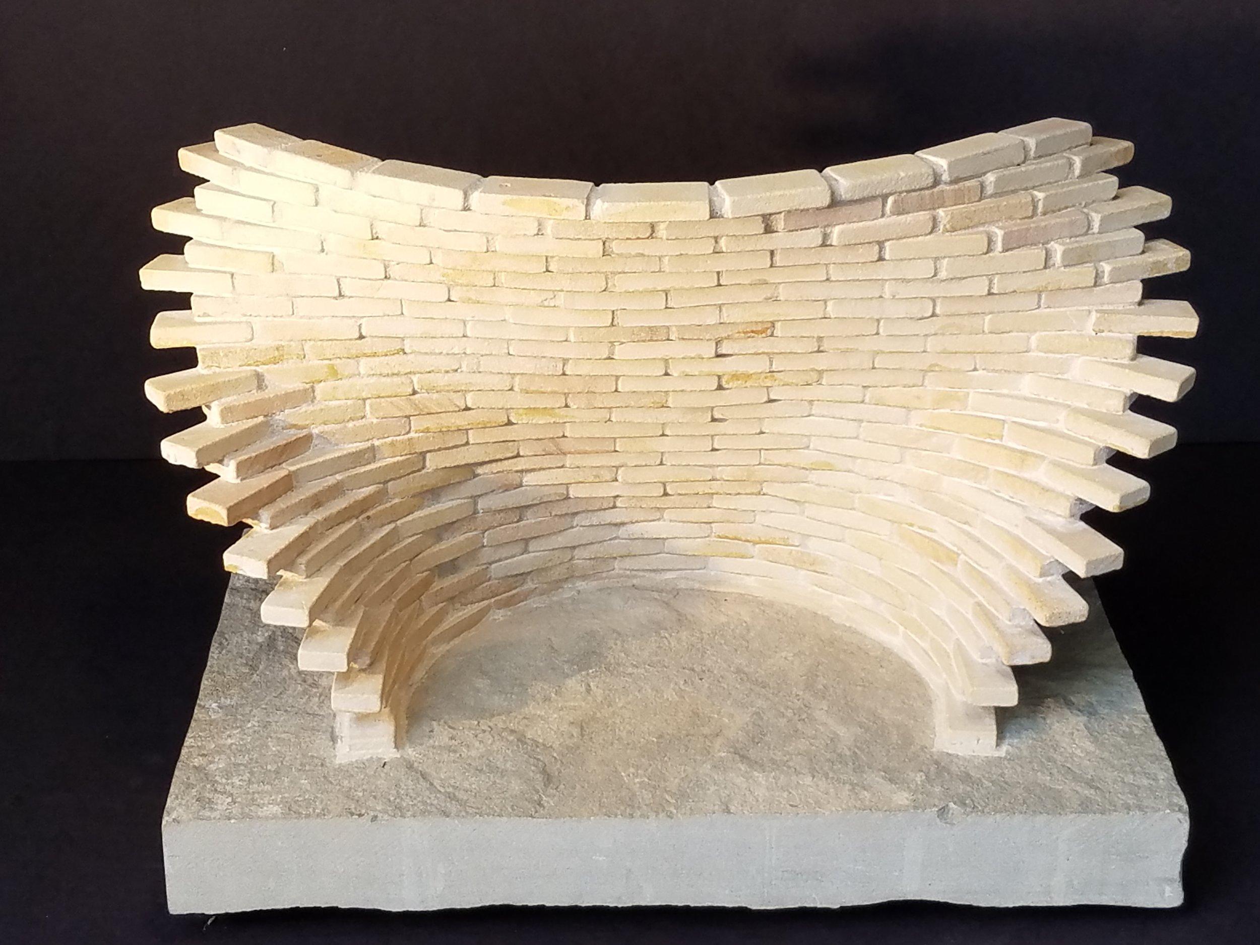 "Medium: Sandstone  Dimensions: 20"" x 12"" x 13"" including base"