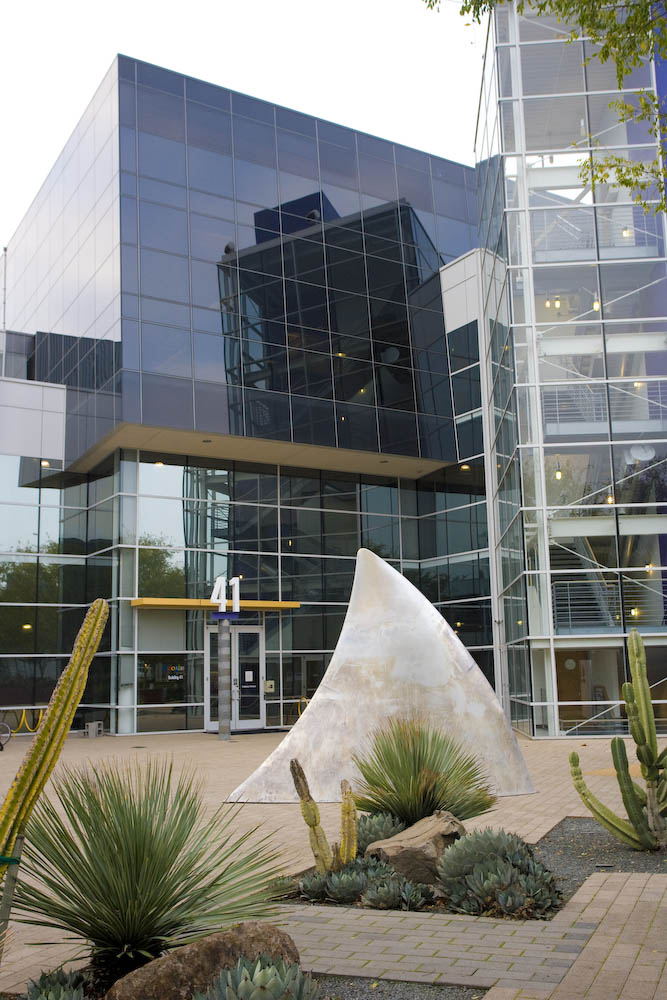 """The sculpture, """"No Swimming,"""" was installed at Google's headquarters in Mountain View, California, as a temporary art installation. This work was first seen at Burning Man 2008 with the title, """"Shark Fins.""""  It's about danger, fear, and hope for tomorrow. This project represents deep concern about the impact of human activity and progress on nature."""