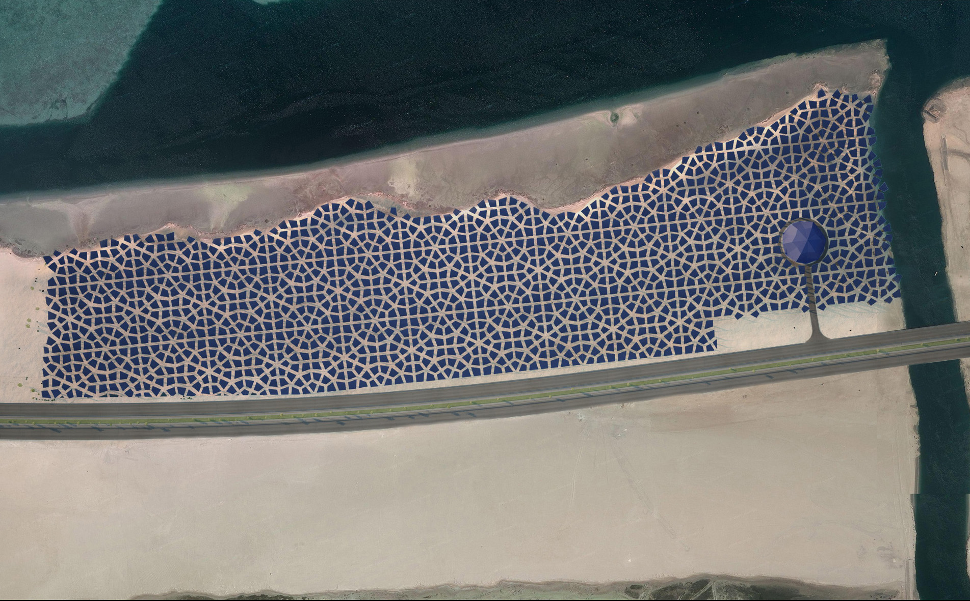 "The arrangement of the solar panels in this proposal is intended to be illustrative of the concept. Airline travelers to and from Abu Dhabi would be able to view the design as they approach or depart the city by air, while visitors to the site at ground level would experience a sensation of passing along the coast of an ""industrial ocean"" by car from the road.  Stopping at the site, visitors would be able to walk under the ""canopy"" of an ""industrial jungle"" to the dome-shaped visitor center and observe any changes in the shape or location of the coastline that may have taken place since installation. In this way, viewers would see Solaris very differently depending upon their perspective in relation to it. The Solaris installation would generate environmental awareness using the universal language of art."