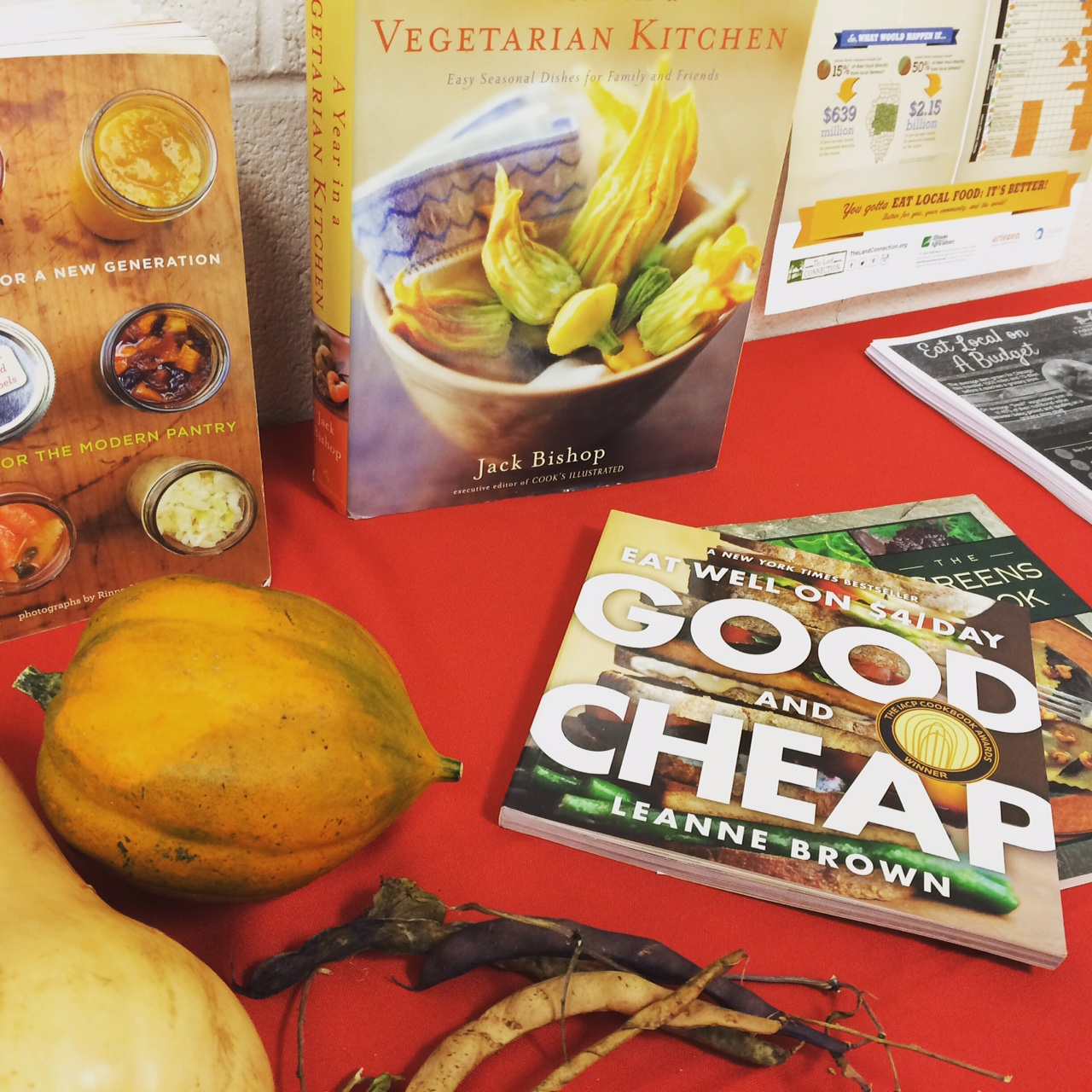 Slow Food's resource table - books on canning, vegetarian eating, and even some seed savers making an appearance.
