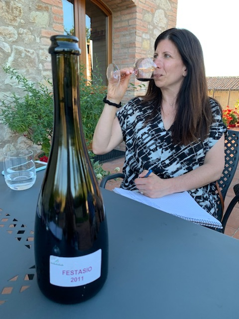 Rebecca Margolis tasting the Festasio wine from 2011. (Image provided by the author.)