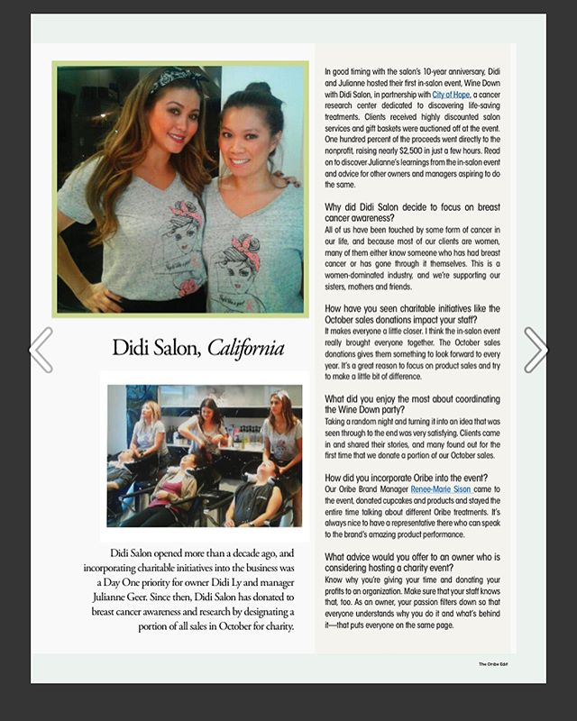 So honored to be recognized for our contributions to charity in the very first issue of #TheOribeEdit digital newsletter (page 7)!🙌 Thank you @Oribe !! I couldn't be more proud of my manager, Julianne, and all of our incredible Team for representing the salon and making it all happen—Thank you! Your love and contributions to charity help lead the way! Thank you to @cityofhope as well for helping us organize the event! Special thanks to our amazing Oribe rep @reneemariesis for always supporting our events! Most importantly, thank you to all our clients and supporters! We couldn't do this with out you! We're looking forward to continuing our efforts this October and hope to see you all there! ❤️❤️Xoxo #didisalon  Read the whole issue here:  https://issuu.com/oribe/docs/the_oribe_edit_-_issue_1/1?ff=true . . . #breastcancermonth #breastcancerawareness #cityofhope #oribe #kaocorp #goldwell #didisalon #burlingame #bayareasalon #stylisthelpingstylist #supprtoneanother