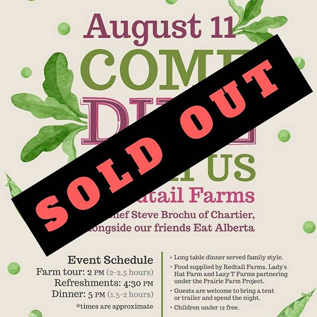 THANK YOU for the overwhelming enthusiasm for our next event, as our Redtail Farms dinner is now SOLD OUT!! We look forward to seeing you next weekend! (P.S. Tickets are still available for our FREE Young Agrarians event on August 16 in Edmonton) #eatalberta #yeg #yegevents #yegfood #exploreedmonton #travelalberta #eatlocal #farmtotable #support #supportyourlocalfarmer #centralalberta #localfood #supportsmallfarms #shoplocal