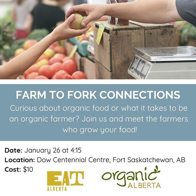 Are you curious about organic food or what it's like to be an organic farmer? Join us for a fun and fast-paced way to meet the farmers who grow your food! You will have the opportunity to learn about production practices, ask questions face-to-face, and chat with farmers about what they do and why they chose organics. Hosted in partnership with @organic_alberta helping to tell the story behind the people who produce high-quality, healthy and sustainably grown food right here in Alberta.⠀ Click the link in our bio for the Eventbrite tickets! ⠀ The Farm to Fork Speaker and Workshop series is happening as a part of the 2019 Organic Alberta Conference: Growing Healthy Farmers, Fields, and Food. If you are interested in learning more, visit the website! https://buff.ly/2WebORx