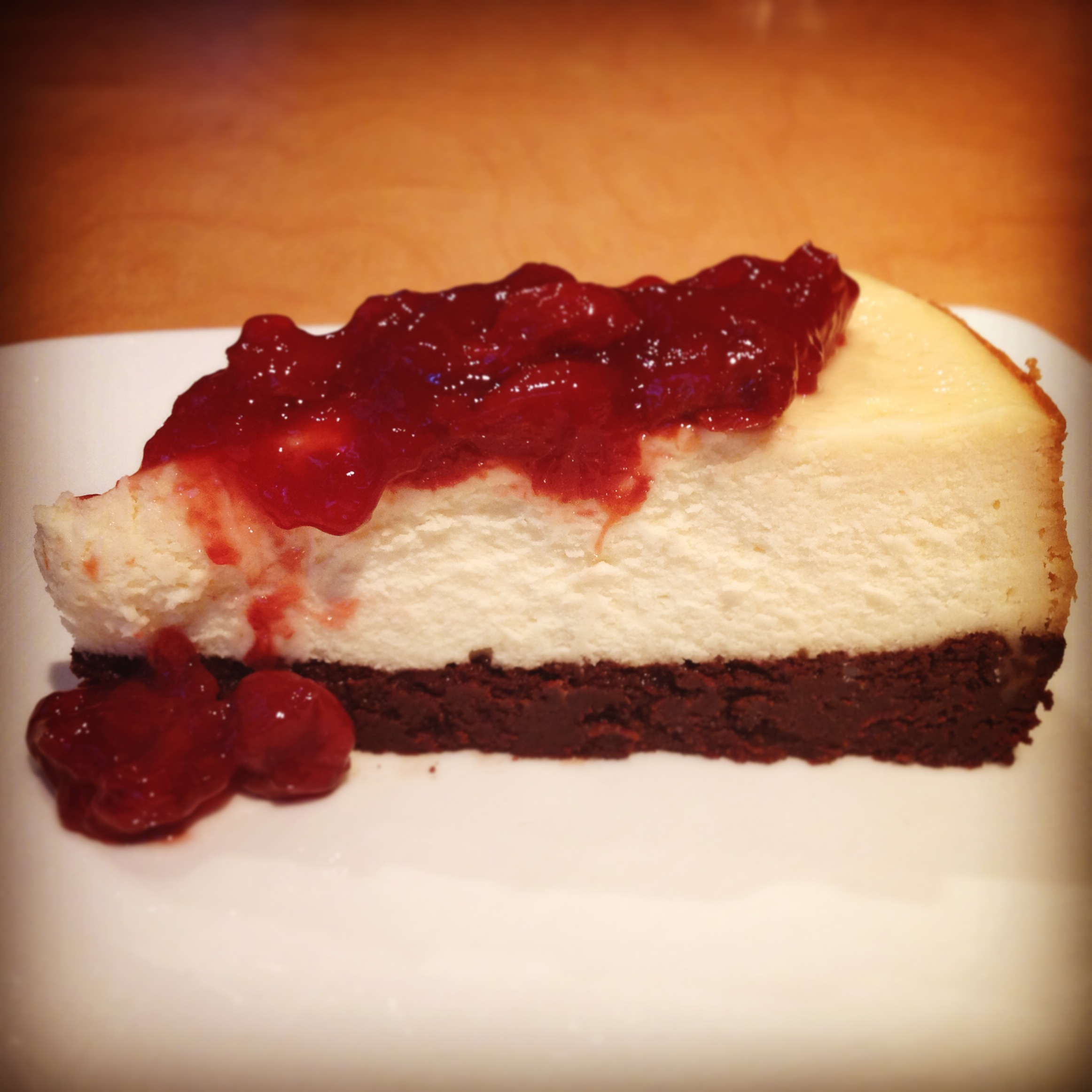 sour cherry cheesecake with a sourdough brownie crust