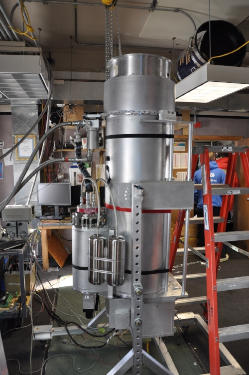 One of the 5 cryostats from the Keck array being tested and calibrated after having its sensors replaced - soon to be super-cooled and reduced to a vacuum.