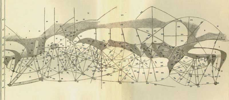 Lowell's map of the Martian canals from 1895 - more information about the history of the Martian canals can be found  here .