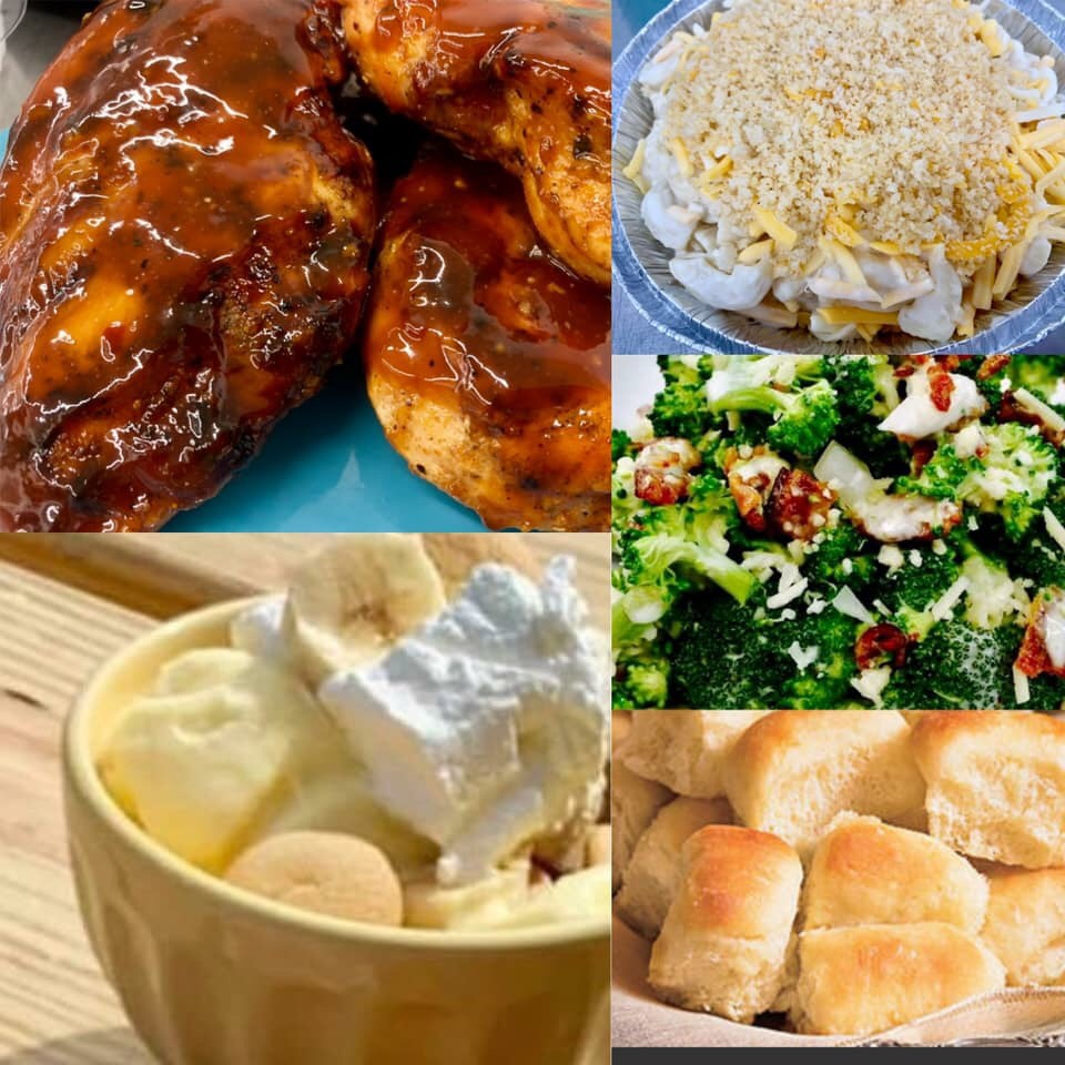 - Week 1 Sept. 10-12:Grilled BBQ Chicken Breast, House Mac-n-Cheese, Broccoli Salad, Yeast Rolls, Banana Pudding with Peanut Butter.