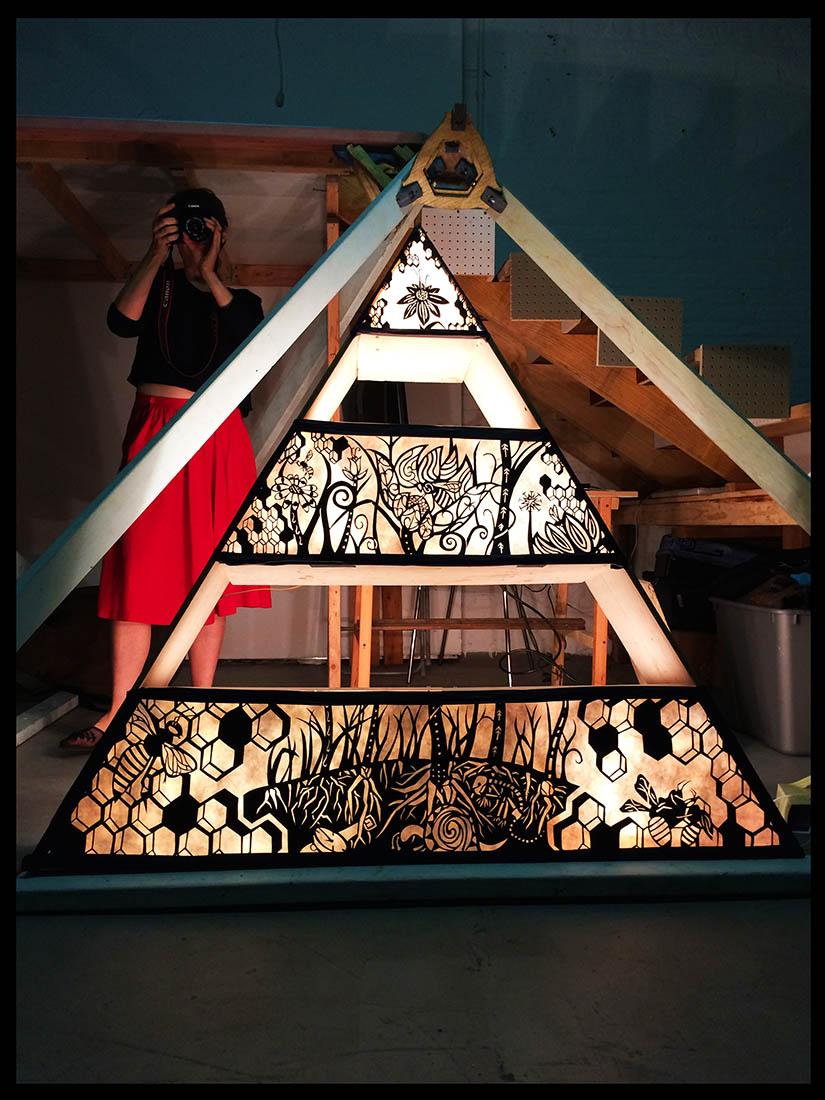 Triangular Lightbox Shelf