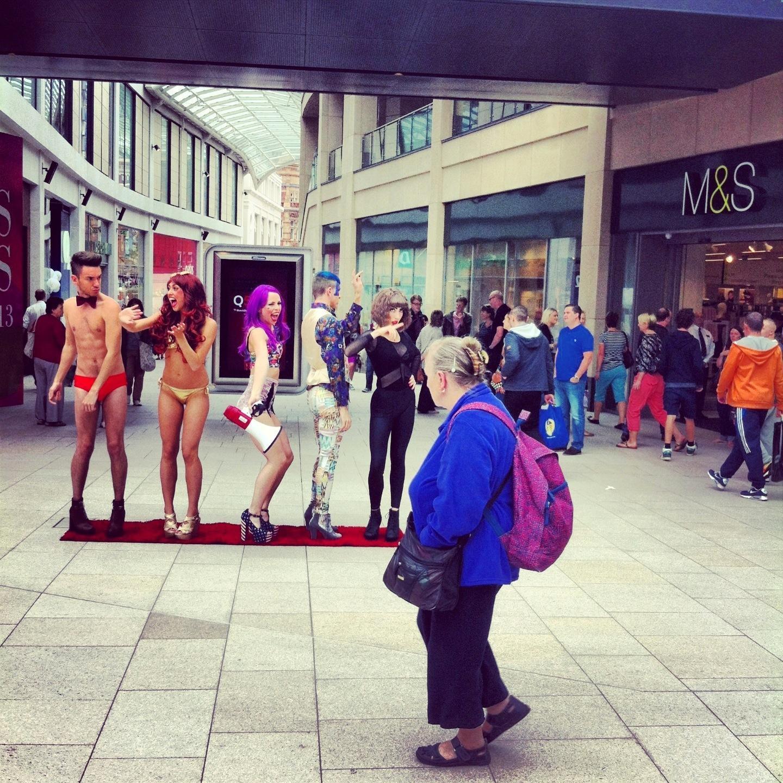 Performing for Jordan Massarella in  #Vistors, Leeds city centre (2013). Image - Daniel Connor