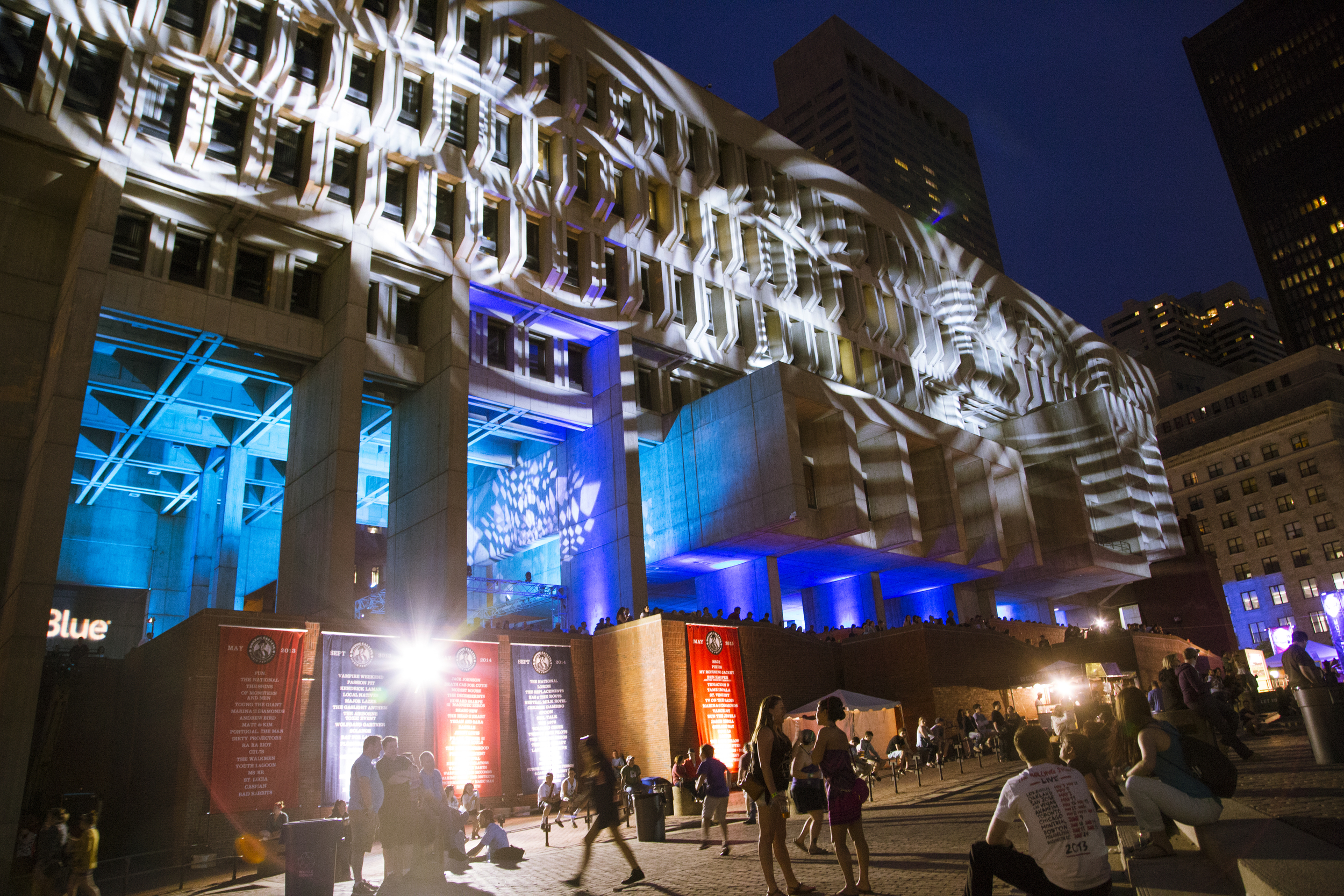 Projected lighting patterns illuminate City Hall Plaza Sunday night, just before The Pixies closed out the weekend.