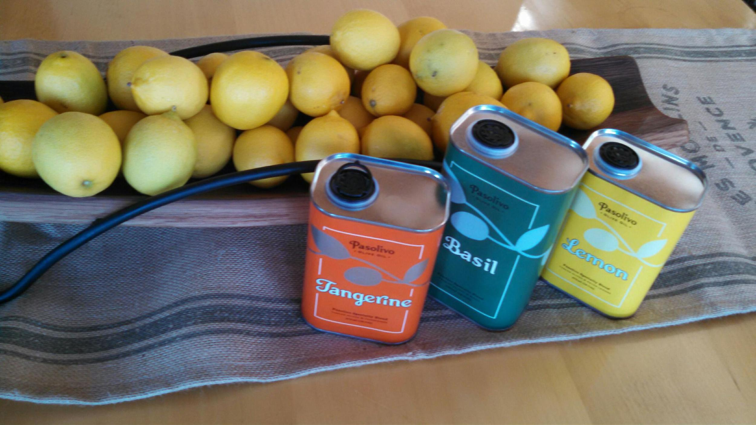 Meyer lemons from my own tree -- with my favorite Paolivo flavored oilve oils