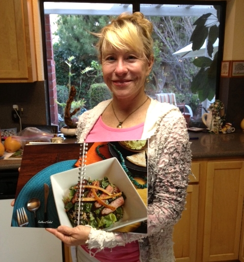 Nancy Smeets with her Salad Joy cookbook