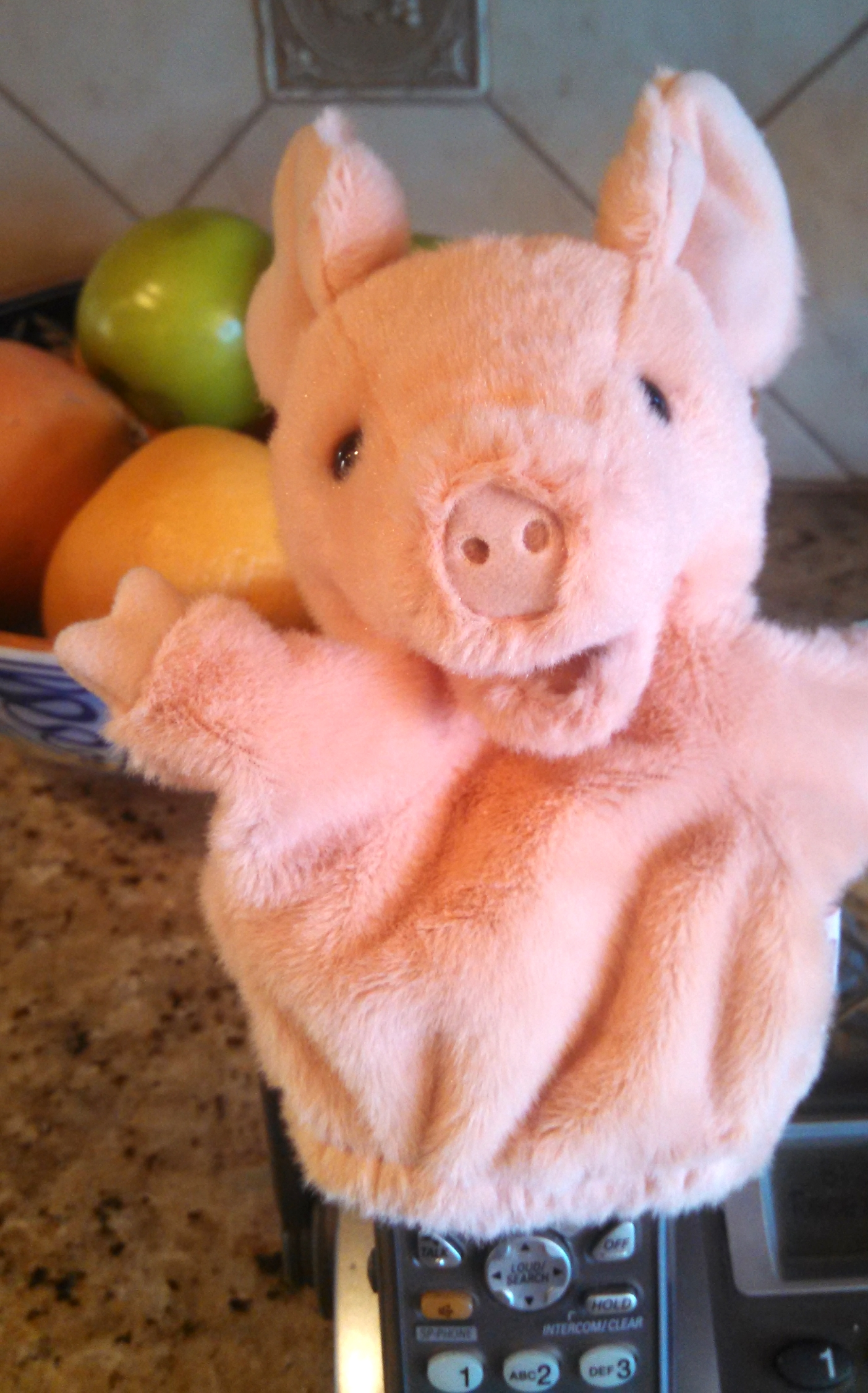 Piglet the puppet is a perfect kitchen pal