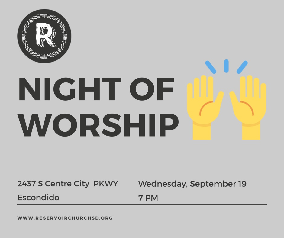 Tonight! 7 PM in the sanctuary. We will gather for worship. All are invited for this intentional time of waiting on the Lord and lifting his name high.