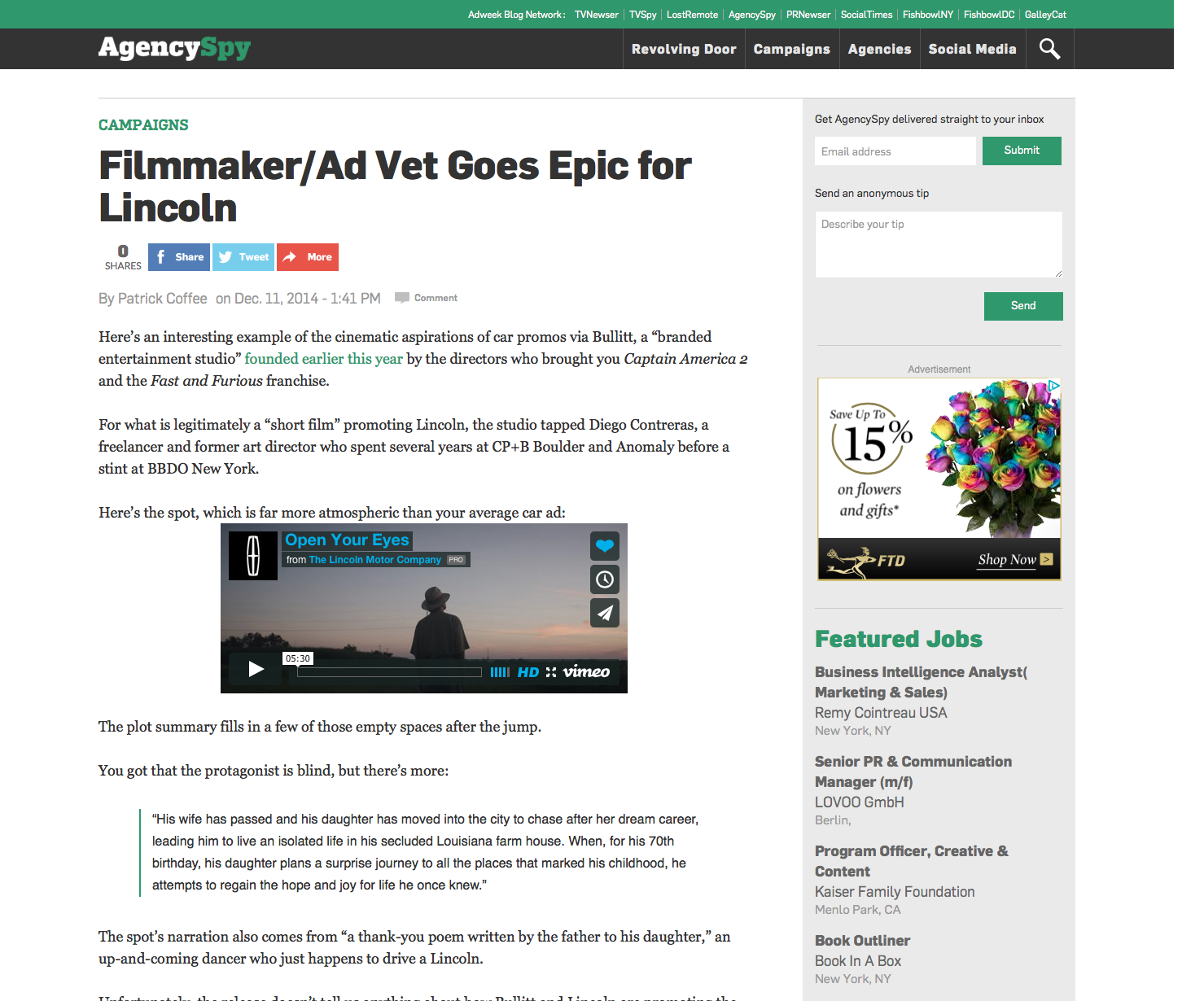 Feature article on Adweek's Agency Spy.