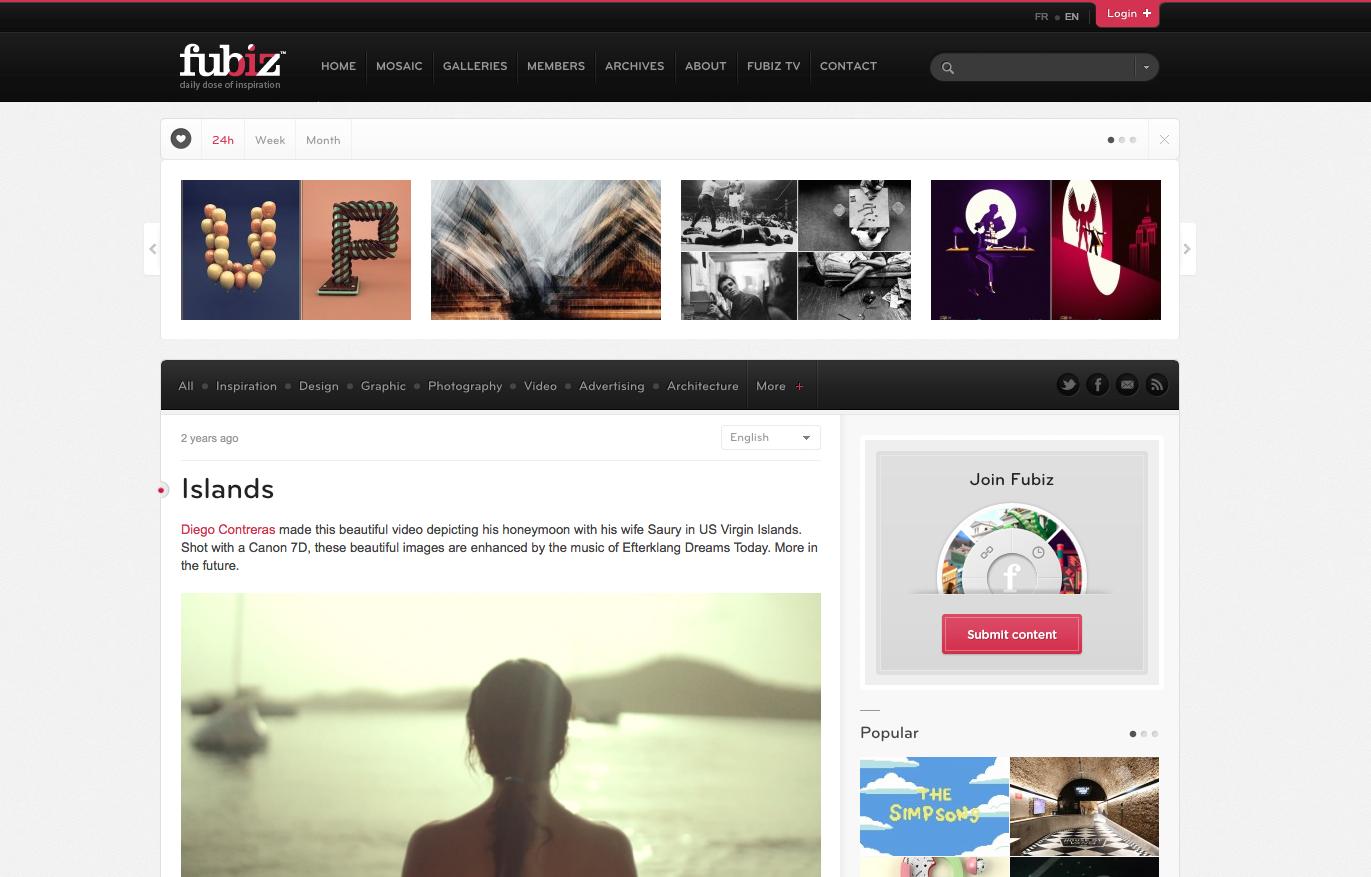 """Islands"" feature on Fubiz.net"