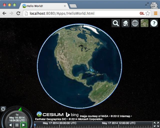 CesiumJS Hello World demonstration