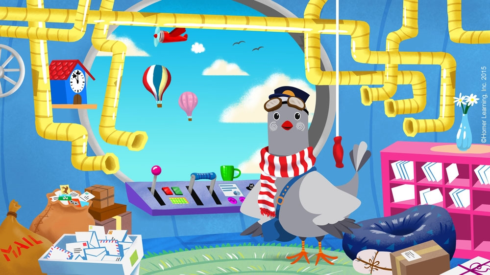Digital - Background created for Homer Learning, Inc. (Learn with Homer is a childrens reading and educational app)  Note: Homer (pigeon) previously created by Homer Learning, Inc