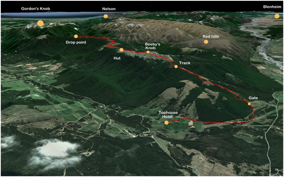 This is an overview of the Beeby's Knob Helibike route